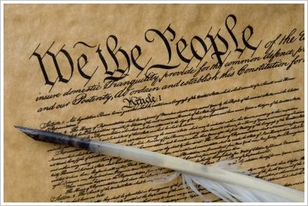 Constitution with quill