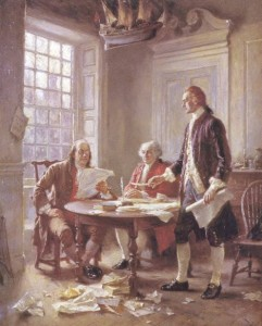 Declaration of Independence being written