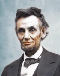 what appears to be a photo of Lincoln with a small smile