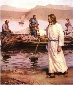 painting of Jesus and fishermen