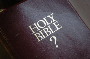 Bible with question mark on cover
