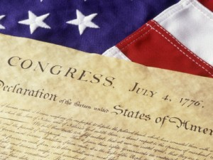 Declaration of Independence + section of American flag