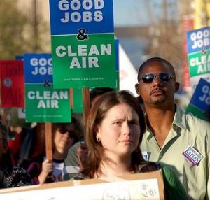 Good Job and Clean Air pickets