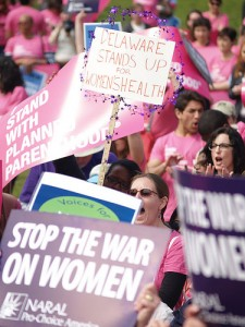 Pro-choice activists with signs