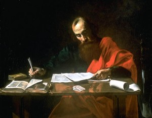 Apostle Paul reading and writing