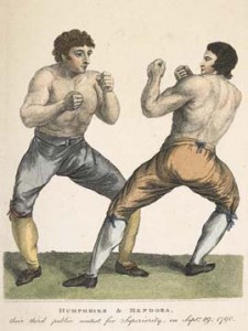 18th-century drawing of two boxers sparring