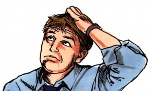 drawing of confused man scratching his head