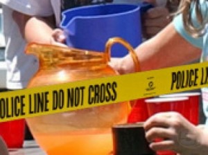lemonade stand behind police tape - ap