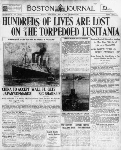 Boston paper reports sinking of USS Lusitania
