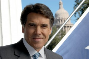 Rick Perry with image of capitol building