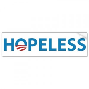 """Hopeless"" bumper sticker"