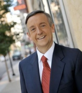 Pastor Robert Jeffress on town sidewalk