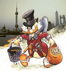 Scrooge McDuck carrying gold and oil