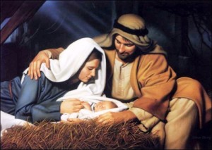 May & Joseph with infant Jesus in manger