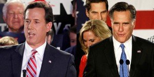 Santorum and Romney pics spliced together