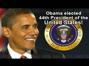 2008 announcement that Obama won the election