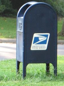 blue public mailbox