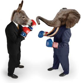 Dem donkey vs GOP elephant boxing