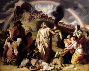Noah & family see the rainbow, signifying God's covenant