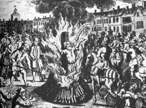 Burning a purported heretic at the stake during the Inquisition