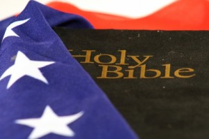 Bible wrapped in American flag