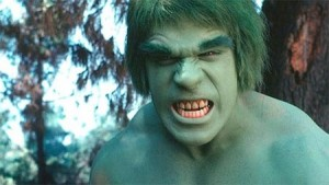 Lou Ferrigno as Hulk, growling at camera