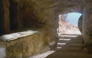 Empty tomb with linens