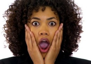 black woman looking shocked