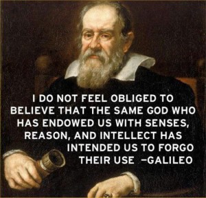 Galileo painting with quote