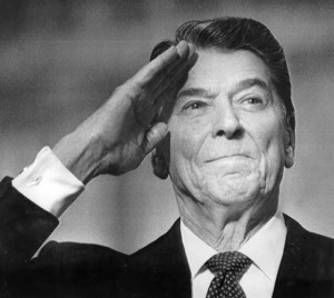 Ronald Reagan saluting - black-n-white