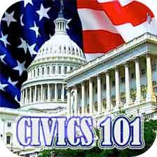 """""""Civics 101"""", Capitol building, American flag"""