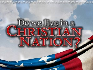 """Do we live in a Christian nation?"" poster"