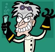 cartoon of mad scientist / evil genius
