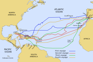 Map showing routes of Columbus' 4 voyages to New World