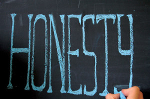"""Honesty"" written in blue chalk"