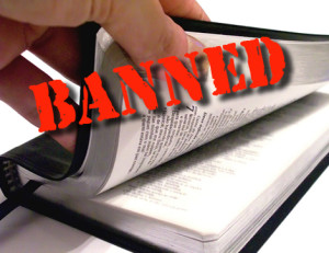 "image of Bible with ""Banned"" across it"
