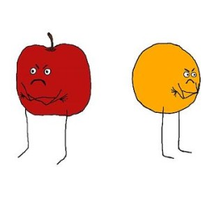 apple and orange - cartoon