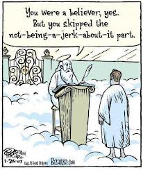 christian-jerk gets to heaven (cartoon)