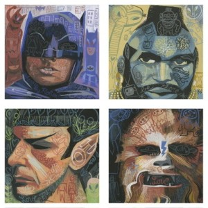 Quadtych painting of Batman, Mr. T, Mr. Spock, Chewbacca
