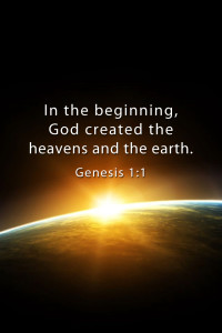 Genesis 1:1 with Sun coming over edge of Earth