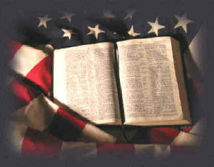 Bible on Americna flag