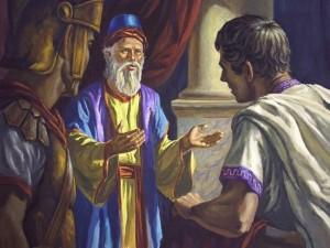 Joseph of Arimathea requests Pilate release Jesus' body to him