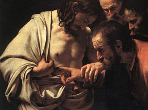 Doubting Thomas puts finger in Jesus side wound