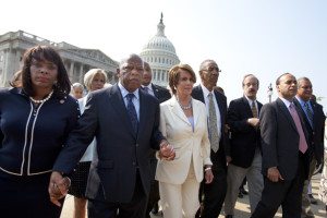 Nancy Pelosi marching with Congressional Black Caucus