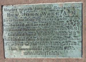 Rev. John Wise's grave